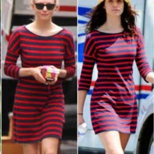 express navy red 3/4 sleeve bodycon dress small